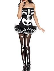 Squelette / Crâne Une Pièce Robes Féminin Le jour des morts Fête / Célébration Déguisement d'Halloween Noir Mosaïque