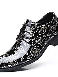 Недорогие -Муж. Официальная обувь Лакированная кожа Осень / Зима Туфли на шнуровке Золотой / Серый / Красный / Для вечеринки / ужина