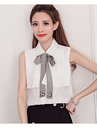 cheap -Women's Daily Casual Shirt,Solid Stand Sleeveless Cotton Linen Polyester