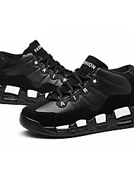 Femme Chaussures Polyuréthane Printemps Automne Confort Basket Bout rond Lacet Pour Décontracté Noir et Or Noir/blanc Noir/Rouge Noir /