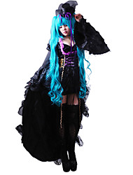 Inspired by Vocaloid Hatsune Miku Video Game Cosplay Costumes Dresses Hat/Cap Solid Long Sleeves Dress Hat