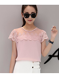 cheap -Women's Daily Going out Cute Summer Blouse,Solid Round Neck Short Sleeves Linen Acrylic Medium