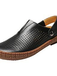 Homme Chaussures Vrai cuir Printemps Automne Confort Sabot & Mules Pour Décontracté Noir Marron