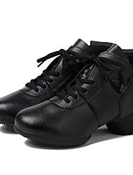 Для женщин Танцевальные кроссовки Натуральная кожа С раздельной подошвой Для открытой площадки Каблуки на заказ Черный Персонализируемая