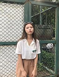 cheap -Women's Daily Casual Blouse,Geometric Shirt Collar 3/4 Length Sleeves Acrylic