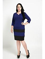 abordables -Femme Grandes Tailles Tunique Robe - Paillettes, Couleur Pleine