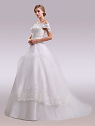 cheap -A-Line Off-the-shoulder Court Train Lace Satin Tulle Wedding Dress with Beading Appliques Bow(s) Lace by Nameilisha
