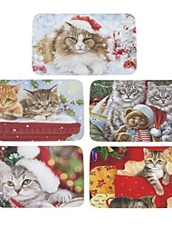 Set of 5 Welcome Floor Mats  Christmas Cute Cat  Printing Bathroom Kitchen Carpets House Doormats for Living Room Anti-Slip Tapete Rug W16 x L24 inch