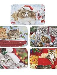 lot de 5 bienvenue tapis de sol Noël mignon chat impression salle de bain cuisine tapis maison paillassons pour salon anti-slip tapete