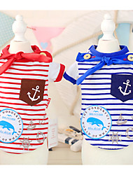 cheap -Dog Vest Dog Clothes Sailor Red / Blue Cotton Costume For Pets Summer Men's / Women's Casual / Daily