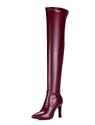 Women's Shoes Cowhide Spring Fall Fashion Boots Boots Stiletto Heel Pointed Toe Thigh-high Boots Zipper For Wedding Party & Evening Wine