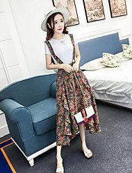 Damen Blumen Boho Ausgehen T-Shirt-Ärmel Hose Anzüge,Gurt Sommer Kurzarm