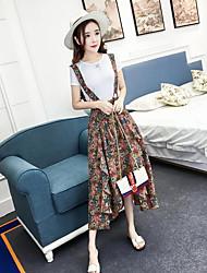 abordables -Mujer Boho Noche Verano T-Shirt Pantalón Trajes,Con Tirantes Floral Manga Corta
