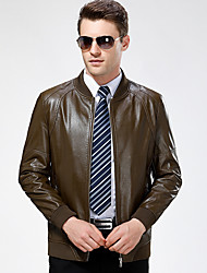 cheap -Men's Daily Vintage Winter Fall Leather Jackets,Solid Round Neck Long Sleeve Regular Lambskin