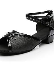 cheap -Women's Latin Shoes Paillette Heel Low Heel Customizable Dance Shoes Black / Practice