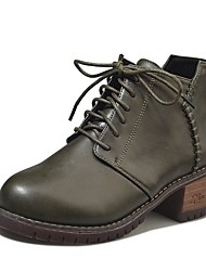 cheap -Women's Shoes PU Fall Combat Boots / Comfort Boots Low Heel Round Toe Lace-up for Black / Green / Dark Brown