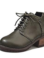 Недорогие -Жен. Обувь Полиуретан Осень Удобная обувь / Армейские ботинки Ботинки На низком каблуке Круглый носок Шнуровка Черный / Зеленый /