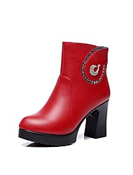 Women's Shoes Microfibre Winter Fur Lining Boots Chunky Heel Round Toe Booties/Ankle Boots Rhinestone Zipper For Party & Evening Dress