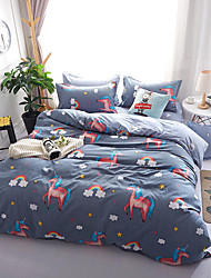 cheap -Duvet Cover Sets Cartoon 4 Piece 100% Cotton Reactive Print 100% Cotton 4pcs (1 Duvet Cover, 1 Flat Sheet, 2 Shams) (If Twin size, only 1