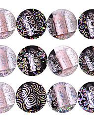 12 Nail Art Sticker  Glitter Pattern Accessories Sparkle Grooming Art Deco/Retro 3D Nail Stickers Cartoon 3-D Sticker Flash DIY Supplies