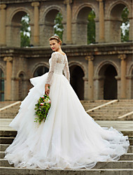 Ball Gown Illusion Neckline Cathedral Train Organza Satin Tulle Wedding Dress with Crystal Beading Appliques Lace by LAN TING BRIDE®