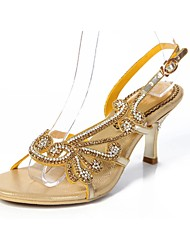 Недорогие -Жен. Обувь Полиуретан Весна Лето Модная обувь Сандалии На шпильке Открытый мыс Стразы Кристаллы Лак Пряжки Цепочки для Для праздника Для