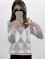 cheap -Women's Going out Regular Pullover,Color Block Round Neck Long Sleeves Others Winter Spring Medium Micro-elastic