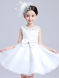 cheap -Ball Gown Princess Knee Length Flower Girl Dress - Satin Tulle Sleeveless Jewel Neck with Bow(s) Lace by Bflower