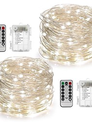 cheap -2Pack Fairy String Lights Battery Operated Waterproof 8 Modes 100LED 10M Copper Wire Firefly Lights Remote Control