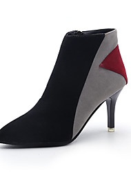 Women's Shoes Fabric Fall Winter Comfort Boots Stiletto Heel Booties/Ankle Boots Zipper For Casual Khaki Gray