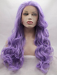 cheap -Women Synthetic Wig Lace Front Medium Length Long Curly Wavy Loose Wave Deep Wave Water Wave Purple Party Wig Celebrity Wig Halloween Wig