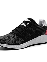 cheap -Men's Shoes Knit PU Spring Fall Comfort Athletic Shoes Walking Shoes Lace-up For Casual Outdoor Black/Red Black/White Pink/White Black