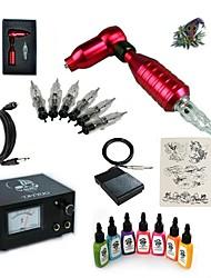 preiswerte -Tätowiermaschine Beginner Set 1 x Drehtattoomaschine für Umrißlinien und Schattierung 15W 5 x Einweggriff 5 Stück Tattoo Nadeln
