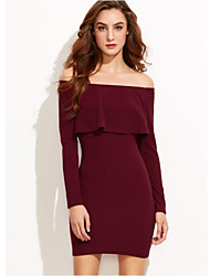 Women's Party Club A Line Dress,Solid Off Shoulder Above Knee Long Sleeves Others Summer High Waist Micro-elastic Medium