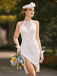 cheap -Sheath / Column Spaghetti Straps Asymmetrical Lace Wedding Dress with Appliques Split by LAN TING BRIDE®