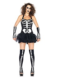 cheap -Skeleton / Skull / Ghostly Bride Outfits Women's Halloween / Day of the Dead Festival / Holiday Halloween Costumes Black Vintage