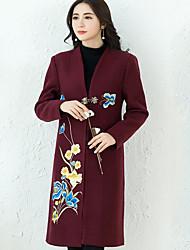 preiswerte -Damen Druck Street Schick Ausgehen Mantel,V-Ausschnitt Winter Lang Andere