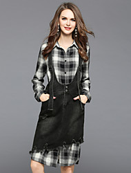 cheap -EWUS Women's Daily Going out Dresses&Skirts Fall Shirt Skirt Suits,Plaid/Check Shirt Collar Long Sleeve Cotton Polyester Inelastic