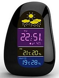 Cobblestone Wireless Weather Station Clock  Colorful LCD Display-BLACK