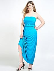 hesapli -Kadın's Büyük Bedenler Vintage Salaş / Kombinezon / Tunik Elbise - Solid Straplez Maksi