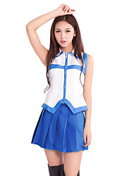 cheap -Inspired by Fairy Tail Lucy Heartfilia Anime Cosplay Costumes Cosplay Suits Patchwork Sleeveless Top Skirt Headpiece Belt Waist Accessory