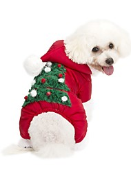 cheap -Dog Hoodie Jumpsuit Dog Clothes Floral / Botanical Red Fabric Costume For Pets Casual/Daily Keep Warm New Year's Christmas