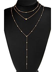 Недорогие -Жен. Слоистые ожерелья В форме сердца Геометрической формы Позолота Сплав Бижутерия Назначение На выход Для клуба