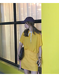 Damen Solide Einfach Lässig/Alltäglich T-Shirt-Ärmel Rock Anzüge,Rundhalsausschnitt Sommer Halbe Ärmel