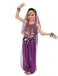 cheap -Belly Dance Outfits Children's Performance Polyester Chiffon Paillette Sleeveless Natural Tops Pants Bracelets Headpieces