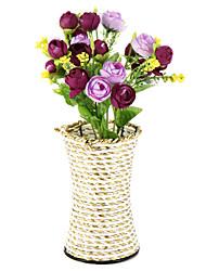 economico -1branch di seta / plastica rose fiori artificiali con decorazione domestica vaso