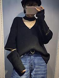 Standard Pullover Da donna-Per uscire Tinta unita A V Manica lunga Cotone Autunno Medio spessore Media elasticità
