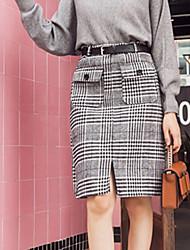 cheap -Women's Daily Work Knee-length Skirts Check Winter Fall