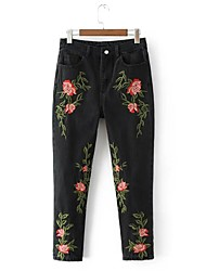 cheap -Women's Mid Rise Micro-elastic Slim Jeans Pants Embroidered Cotton Polyester Fall All Seasons