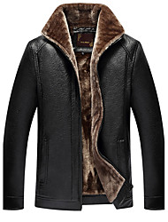 cheap -Men's Daily Plus Size Simple Casual Winter Leather Jacket,Solid Shirt Collar Long Sleeve Regular PU